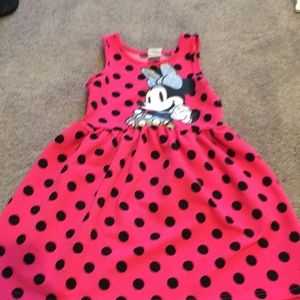 Hot pink polka dot Minnie Mouse toddler dress 4T